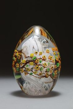 Forsythia Egg Paperweight: Shawn Messenger: Art Glass Paperweight - Artful Home