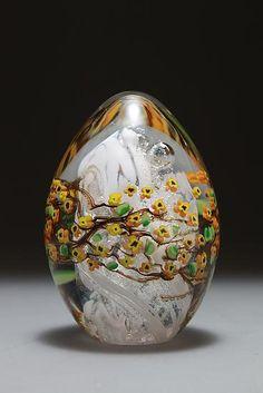 Forsythia Egg Paperweight: Shawn Messenger: Art Glass Paperweight - Artful Home