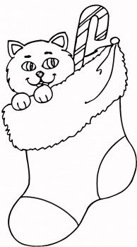 Kitten Peeking Stocking Coloring Page