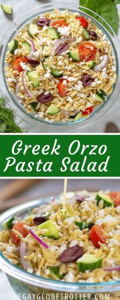 Greek orzo pasta salad is a fresh and easy pasta salad recipe packed full of fet..., #Easy #fet #Fresh #Full #Greek #Orzo #Packed #Pasta #recipe #Salad Lemon Pasta Salads, Orzo Pasta Recipes, Easy Pasta Salad Recipe, Greek Orzo Salad, Orzo Spinach, Fish Salad, Vegetable Salad, Greek Recipes, Pasta Recipes