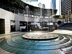 California Plaza Do Landscape Elements, Landscape Architecture, Landscape Design, Architecture Design, Water Fountain Design, Pool Fountain, Landscaping With Fountains, Solar Panel Manufacturers, Modern Water Feature
