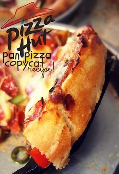 Seriously MINDBLOWING exact replica of Pizza Hut Pan Pizza- stop buying overpriced pizza and make your own at home! So good and you dont have to pay extra for different toppings :)