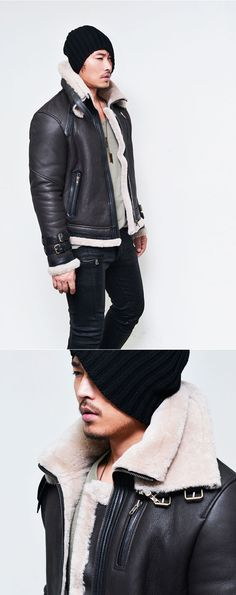 Outerwear :: Leather Jackets :: Belted Double Collar Full Sheepskin Shearling-Leather 66 - Mens Fashion Clothing For An Attractive Guy Look