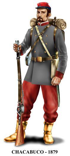 muestra que no todo el ejército chileno usó el azul y rojo. American Uniform, American Civil War, Military Art, Military History, War Of The Pacific, Navy Uniforms, Naval, Bolivia, Army