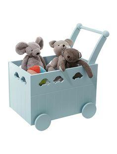 Baúl de almacenaje con ruedas para bebé AZUL CLARO LISO+BLANCO CLARO LISO