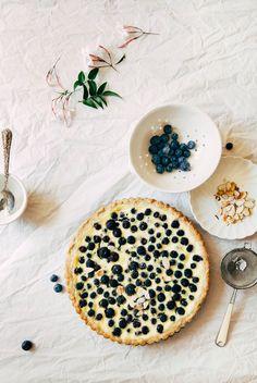 Nordic Blueberry Almond Custard Tart with a Rye Shortbread Crust