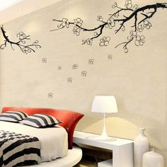 Plum Branch Wall Decals Bedroom Wall Decals TV Background Decals- Plum Flower in Winter -Removable Wallpapers Tree Wall Arts