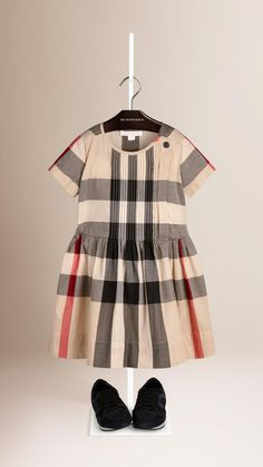 Pleat Detail Check Cotton Dress New Classic Check | Burberry