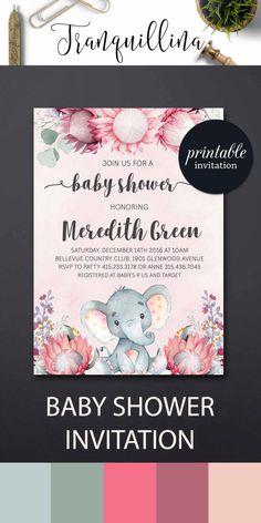 Elephant Baby Shower Invitation, Girl Elephant Invitation, Pink Floral baby Shower Invitation Printable - pinned by pin4etsy.com
