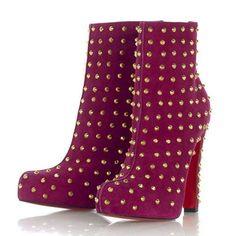 Christian Louboutin Ariella Clou Silver Studded Suede Ankle Booties Rose