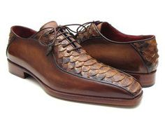 Paul Parkman Men's Brown Genuine Python & Calfskin Bicycle Toe Oxfords (ID#94DE14)
