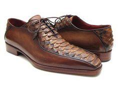 Paul Parkman Men's Brown Genuine Python & Calfskin Bicycle Toe Oxfords $795. (ID#94DE14)