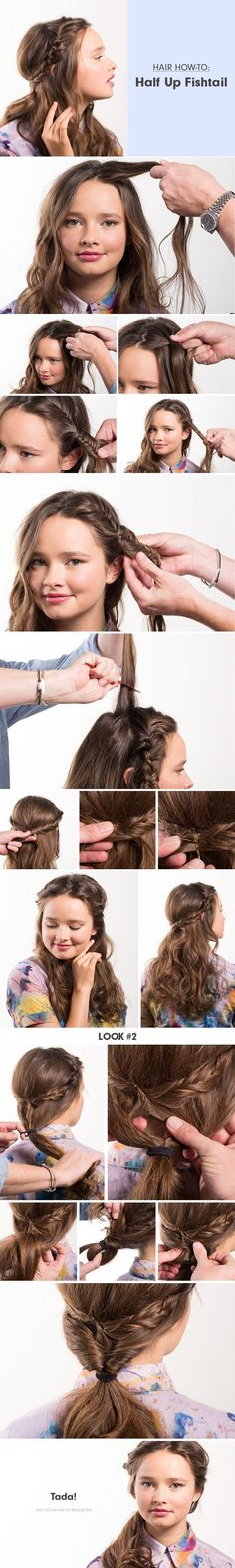 Hair How-To: Half-Up Fishtail http://www.beautylish.com/a/vxgwq/half-up-fishtail-braid
