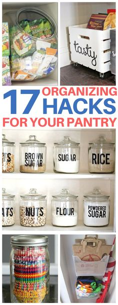 INSTANTLY motivated to organize my pantry after reading this post on pantry organization hacks. Such clever ideas I can't wait to try to get my kitchen and pantry more tidy! Organisation Hacks, Organizing Hacks, Organization Station, Organizing Your Home, Storage Hacks, Craft Storage, Organising, Storage Ideas, Kitchen Organization Pantry