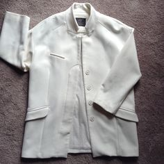 Beautiful Cream color light weight jacket Soft & never worn jacket by ZARA. Great for any season. Winter white for now. Soft cream for Easter. Light weight pea coat for spring. Tan strips inside lining. Even wear it with jeans. The jacket falls about 4 inches above the knee. Zara Jackets & Coats