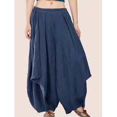 Gorgeous Gracila Casual Pure Color Wide Leg Elastic Waist Pants For Women - NewChic Mobile