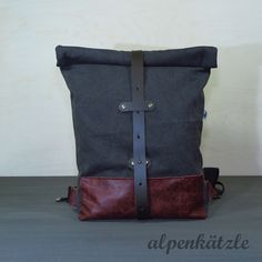 Rucksäcke - Rucksack/Rolltop/Washed-Canvas/Lederrucksack - ein Designerstück von Alpenkaetzle bei DaWanda