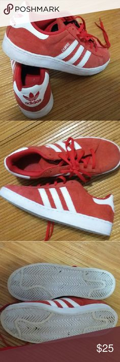 Adidas red Campus sz. US 5 FR 37 1/3 -7/8 Adidas red  Campus sz. US 5 FR 37 1/3  I think these should fit for sz.7.5 -8 in Womens Very good used condition  Red suede leather upper...white rim slightly dirty... Adidas Shoes Athletic Shoes