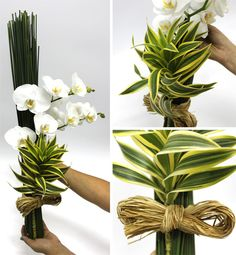 We could replace the orchid with other (better value) flowers in a colour of your choice. Contemporary Flower Arrangements, Tropical Flower Arrangements, Creative Flower Arrangements, Ikebana Flower Arrangement, Church Flower Arrangements, Ikebana Arrangements, Tropical Flowers, Deco Floral, Arte Floral