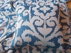 Sale 10.00 dollars off---High End Kilim Ikat Upholstery Pillow cover blue and beige 18 inch accent pillow cover. $35.00, via Etsy.