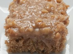 """This easy Oatmeal cake really is elevated by the """"icing on the cake"""". Learn how to make this Oatmeal Cake and a great Coconut Walnut Icing. It's easy! Köstliche Desserts, Delicious Desserts, Dessert Recipes, Yummy Food, Cupcake Recipes, Cupcakes, Cupcake Cakes, Lion House Recipe, Yummy Treats"""