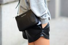 shorts + bag #leather #streetstyle