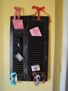 I repainted the shutters and this is where new cards are stored temporarily (and sunglasses).  Simply Organized in NWA - Professional Organizer in Fayetteville, Arkansas