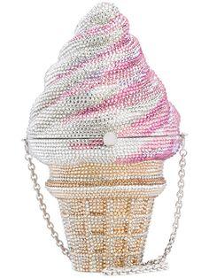 Judith Leiber Crystal Vanilla Cone/Strawberry Twist Ice Cream Cone Clutch Bag XYERs2E4g