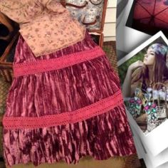HP BOHO/CHIC SKIRT Gorgeous flowy crushed velvet like material..very lightweight.. With a beautiful decorative cotton trim, with that boho feel.. NWT Level Nine Skirts