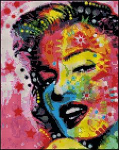 Marilyn Monroe Abstract - Counted Needle Point and Cross Stitch Chart Patterns. $18.00, via Etsy.