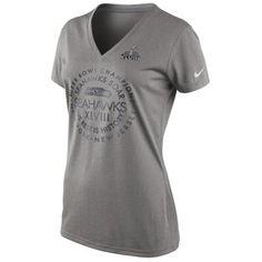 452e1cde7 Nike Seattle Seahawks Super Bowl XLVIII Champions Women s Celebration  Circle Legend V-Neck T-Shirt - Gray