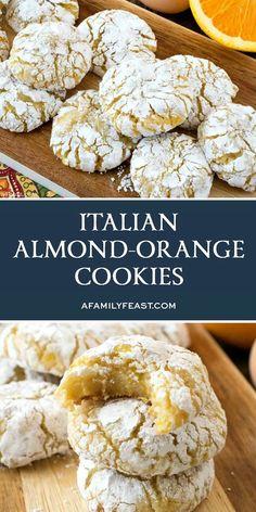 Sweet Desserts, Just Desserts, Sweet Recipes, Dessert Recipes, Breakfast Recipes, Italian Almond Cookies, Almond Meal Cookies, Italian Cookie Recipes, Fudge Brownies
