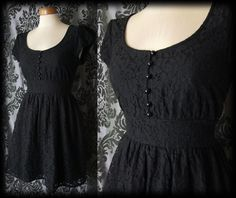 Gothic Black Lace Tiny Button LILITH'S LOVER Victorian Tea Dress 10 12 Vintage - £36.00