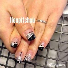 Nail Tip Designs, Fingernail Designs, Cute Nail Art, Easy Nail Art, Fancy Nails, Pretty Nails, Black Silver Nails, Dark Color Nails, Gel French Manicure