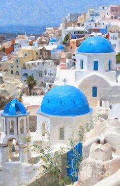 Santorini Oil Painting by Antony McAulay