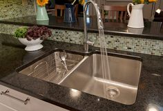 Exceptional Kitchen Remodeling Choosing a New Kitchen Sink Ideas. Marvelous Kitchen Remodeling Choosing a New Kitchen Sink Ideas. Best Kitchen Sinks, Kitchen Sink Design, Kitchen Sink Faucets, Kitchen Redo, New Kitchen, Cool Kitchens, Granite Kitchen, Stainless Steel Kitchen Sinks, Stainless Steel Double Sink