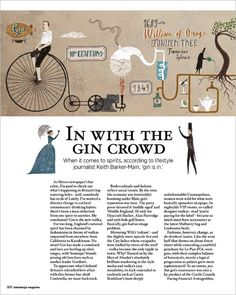 In With The Gin Crowd - article in Sainsbury's Magazine. (Illustrations by Sara Mulvanny)