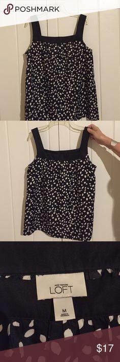 Ann Taylor loft tank Size M black with white dots Ann Taylor loft tank blouse polyester material. Size medium black with white dots. Great condition! Ann Taylor Tops Blouses