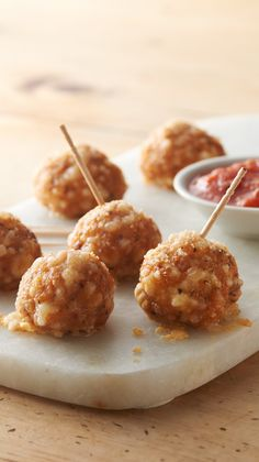 Italian Sausage Crescent Cheese Balls: These cheesy, savory appetizers come together in just 25 minutes and go great with a side of warm marinara sauce.