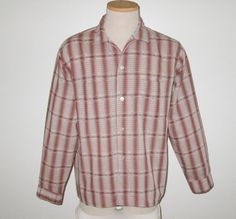 Vintage 1950s Brown Shadow Plaid Shirt By by SayItWithVintage