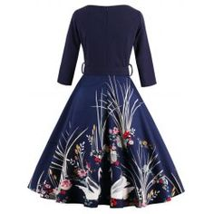 Vintage Printed Belted High Waist Dress - PURPLISH BLUE M