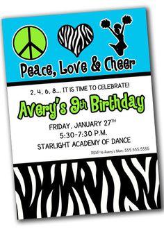 Peace Love Cheer Birthday Party Invitation-Printable, Digital, Cheerleading on Etsy, $10.00