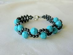 Swarovski Crystal Bracelet, Hematite Beaded Bracelet with Hematite Round Beads and Swarovski Crystals, Color - Turquoise - B-SS010