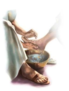 He laid aside his outer garments, and taking a towel, tied it round his waist. Then he poured water into a basin and began to wash the disciples' feet and to wipe them with the towel that was wrapped round him.