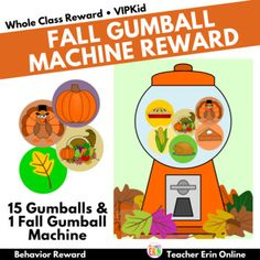 Celebrate fall and Thanksgiving in your classroom with this fun themed bubble gum machine incentive! Themed Gumballs add a new twist to your gumball machine reward! Each gumball features a fun fall or Thanksgiving themed graphic to reward your students. Your students will LOVE adding these fun gumb...