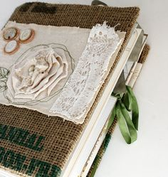 burlap and linen. love.  (rebecca sower)