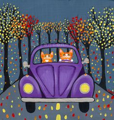 Autumn Volkswagen Drive Cat Original Folk Art Painting by Ryan Conners