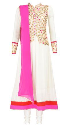 Pratima Gaurav  White embroidered jacket kurta