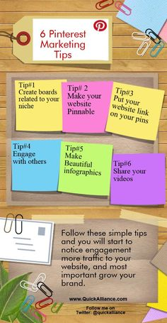 Pinterest Marketing Tips (INFOGRAPHICS) http://www.quickalliance.com/6-pinterest-marketing-tips/