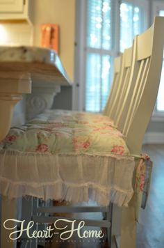 Shabby Chic Chair Cushions  using old skirt w/ruffles and leftover fabric